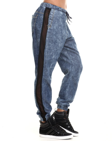 Coogi - Women Light Wash Chambray Side Mesh Insert Jogger