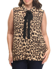 Fashion Lab - Leopard Tie Front Sleeveless Top (plus)