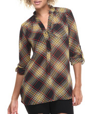 Tops - Plaid Print Chiffon Shirt