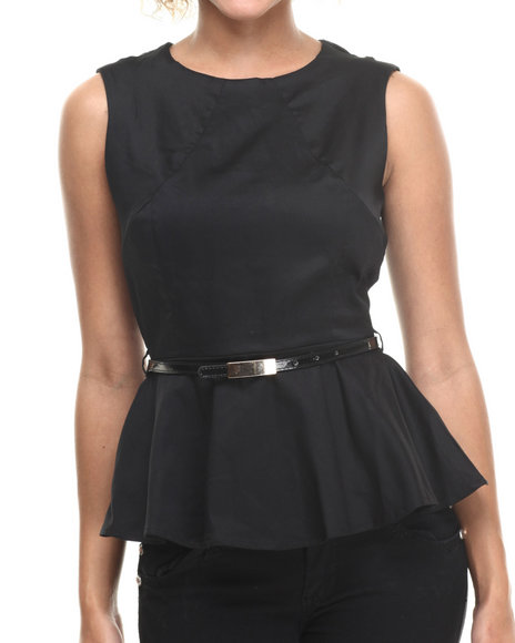 ALI & KRIS Black Stretch Sateen Belted Peplum Top
