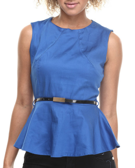 ALI & KRIS Blue Stretch Sateen Belted Peplum Top