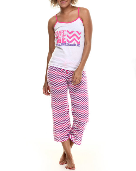 Fashion Lab - Women Pink,White Chevron Capri Pj Set