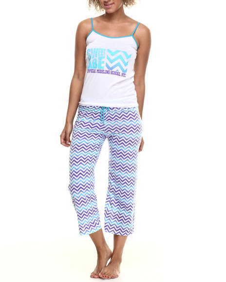 Fashion Lab - Women Blue,White Chevron Capri Pj Set