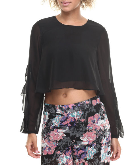 ALI & KRIS Black Ruffle Trim Long Sleeve Cropped Chiffon Top