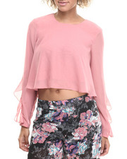 Tops - Ruffle Trim Long Sleeve Cropped Chiffon Top