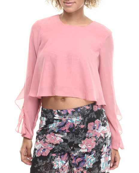 ALI & KRIS Pink Ruffle Trim Long Sleeve Cropped Chiffon Top