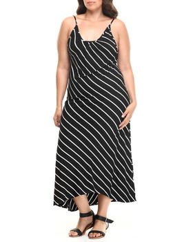 Fashion Lab - Diagonal Stripe Maxi Dress (plus)
