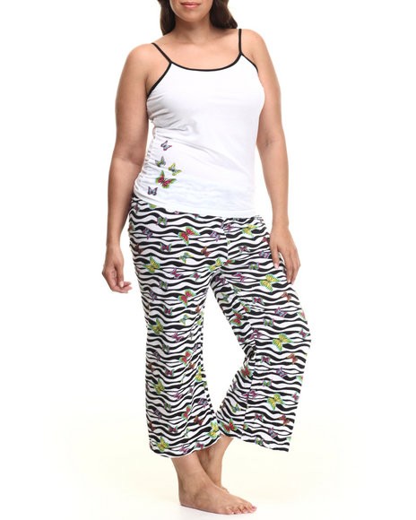 Drj Lingerie Shoppe - Women White Butterfly Zebra Capri Pj Set (Plus)