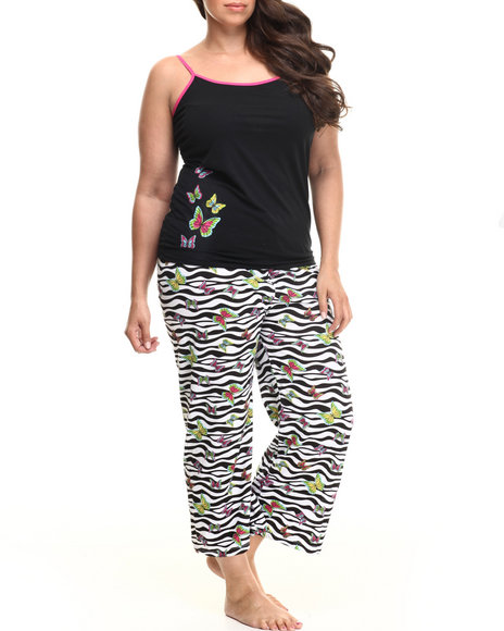 Drj Lingerie Shoppe - Women Black Butterfly Zebra Capri Pj Set (Plus)