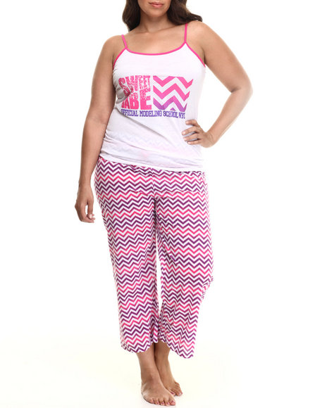 Drj Lingerie Shoppe - Women Pink,White Chevron  Capri Pj Set (Plus)