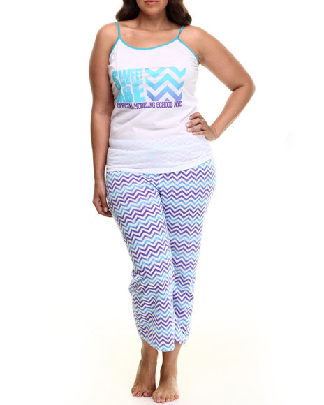 Drj Lingerie Shoppe - Women Blue,White Chevron  Capri Pj Set (Plus)