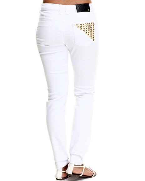 Coogi - Women White High Waisted Pyramid Pocket Jean - $25.99