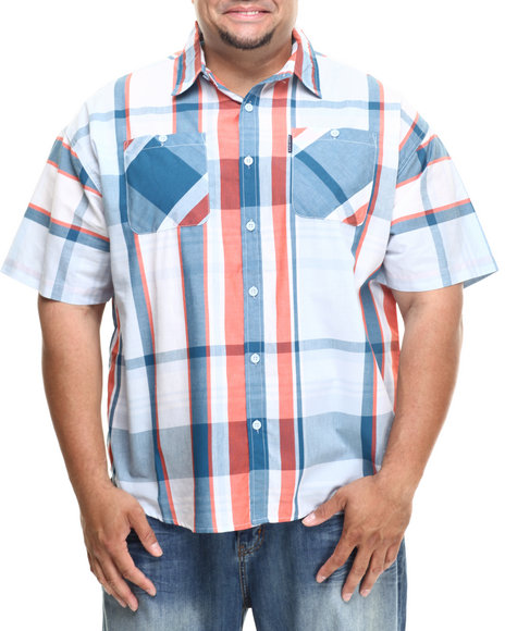 Ecko Blue Big Time S/S Button-Down (Big & Tall)