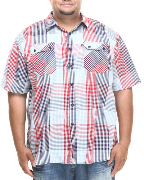 Rocawear - Men Red Cashing Check S/S Button-Down (B&T)