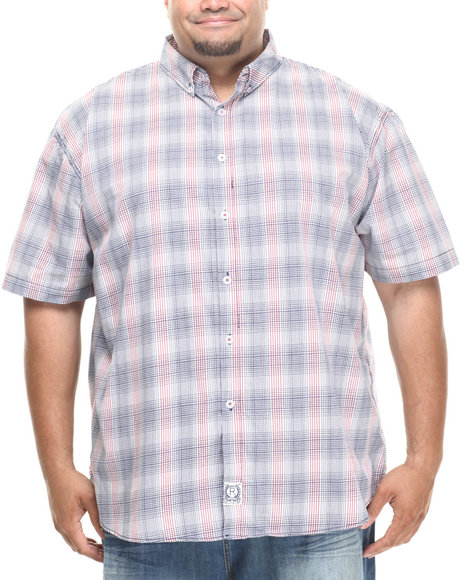 Rocawear - Men Navy Mini Check S/S Button-Down (B&T)