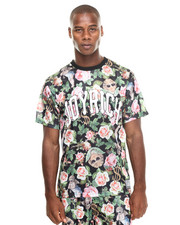 Short-Sleeve - Angelic Rich Floral Mesh Tee