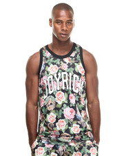 -FEATURES- - Angelic Rich Floral Mesh Tank
