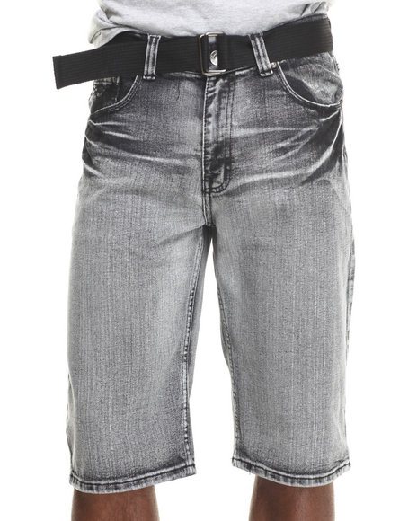 Basic Essentials - Men Black Belted Vintage Denim Shorts