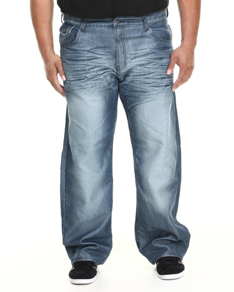 Basic Essentials - Men Medium Wash Weave - Pocket Shiny - Wash Denim Jeans (B&T)