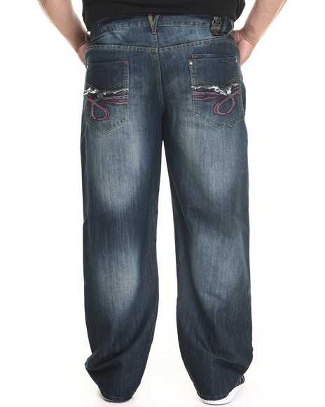 Basic Essentials - Men Vintage Wash Neon Loop Denim Jeans (B&T)