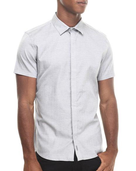 Calvin Klein - Men Grey Micro Texture Dobby Short Sleeve Woven