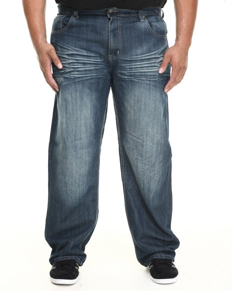 Basic Essentials - Men Medium Wash Blasted Mercerized Denim Jeans (B&T)