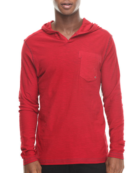 Buyers Picks - Men Red Notch Neck Pullover Hoody