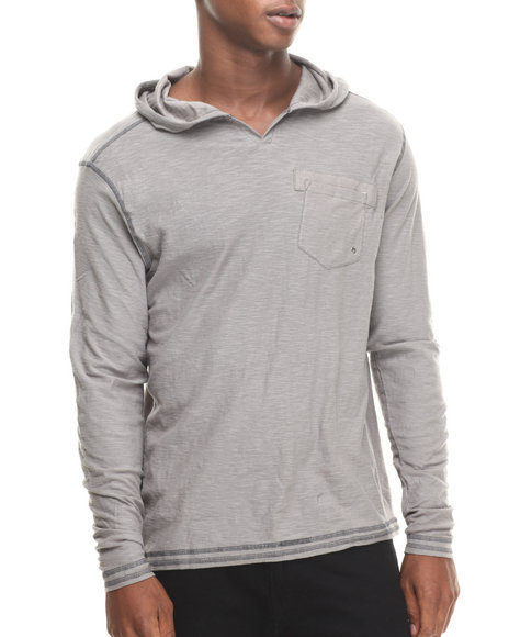 Buyers Picks - Men Grey Notch Neck Pullover Hoody
