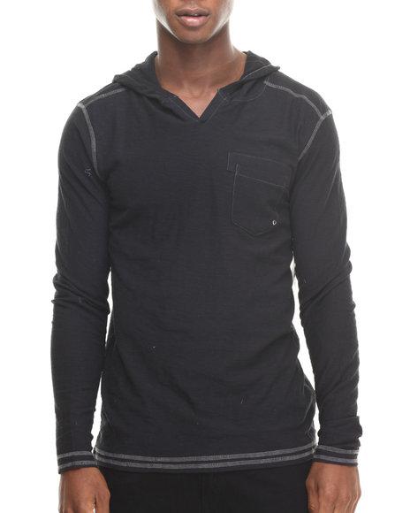 Buyers Picks - Men Black Notch Neck Pullover Hoody