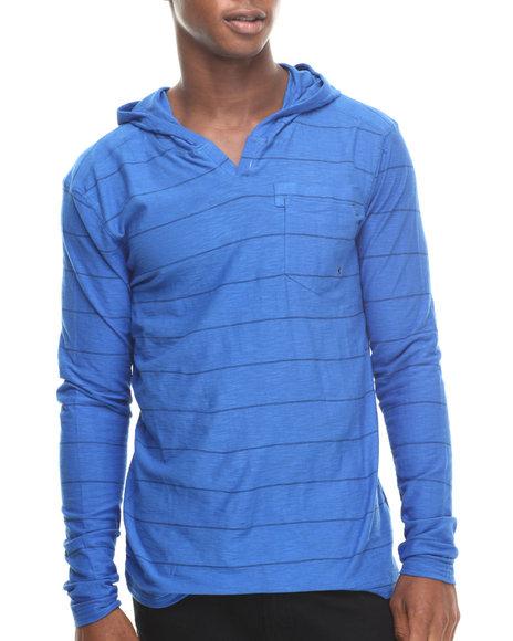 Buyers Picks - Men Blue Stripe Notch Neck Pullover Hoody