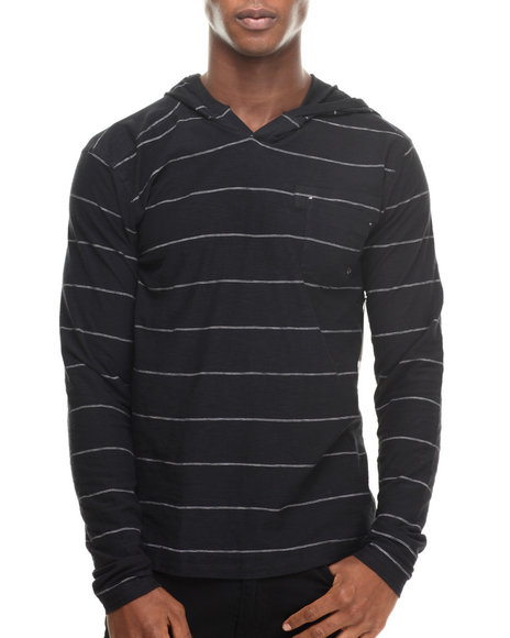 Buyers Picks - Men Black Stripe Notch Neck Pullover Hoody - $11.99