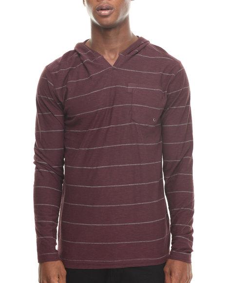 Buyers Picks - Men Maroon Stripe Notch Neck Pullover Hoody