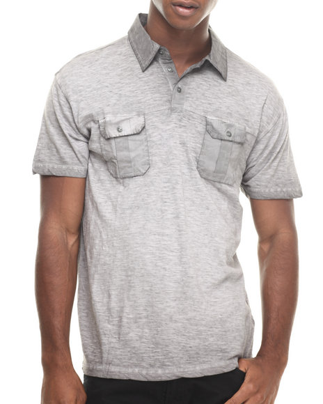 Buyers Picks - Men Grey Special Wash Double Pocket Polo Shirt - $10.99
