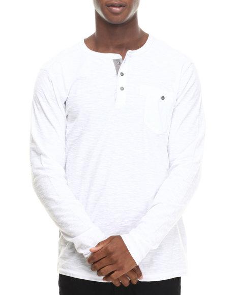 Buyers Picks - Men White Single Pocket Henley L/S Shirt