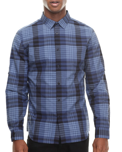 Calvin Klein Navy Long Sleeve Large Plaid Woven