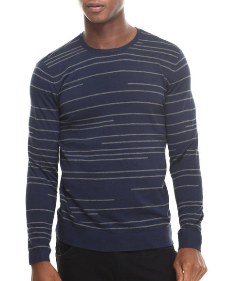 Calvin Klein - Men Dark Blue Cotton Broken Stripe Sweater