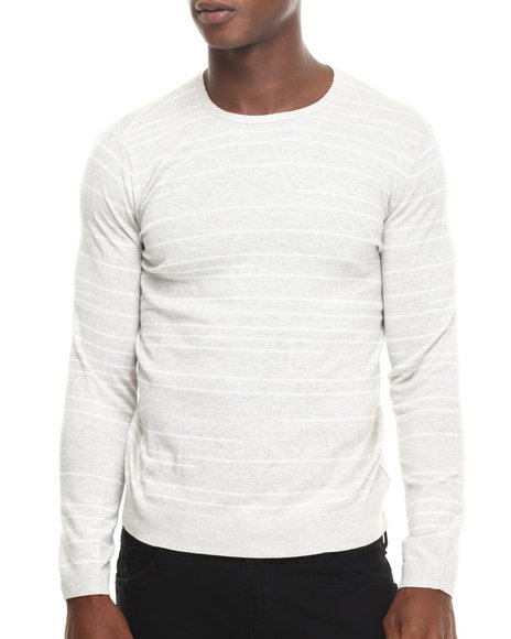 Calvin Klein - Men Light Grey Cotton Broken Stripe Sweater - $19.99