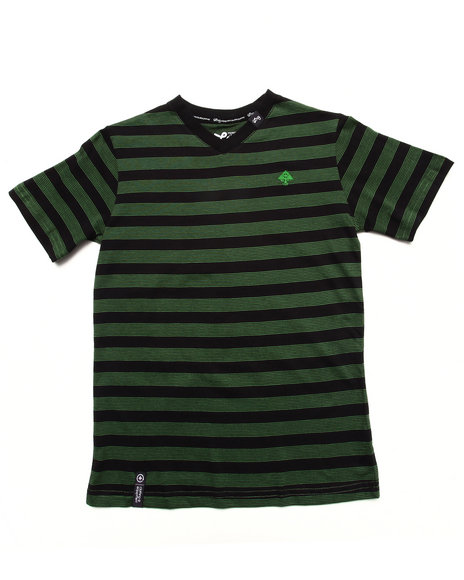 Lrg - Boys Green Striped  V-Neck Tree Logo Top (8-20)