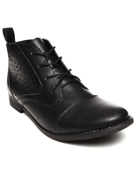 Modern Rebel - Women Black Vegan Leather Cutout Designs Oxford Bootie