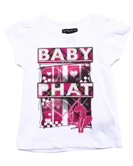 Baby Phat - Girls White S/S Plaid Logo Tee (4-6X) - $9.99