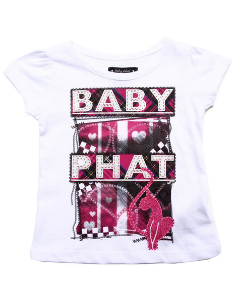 Baby Phat - Girls White S/S Plaid Logo Tee (2T-4T) - $8.99