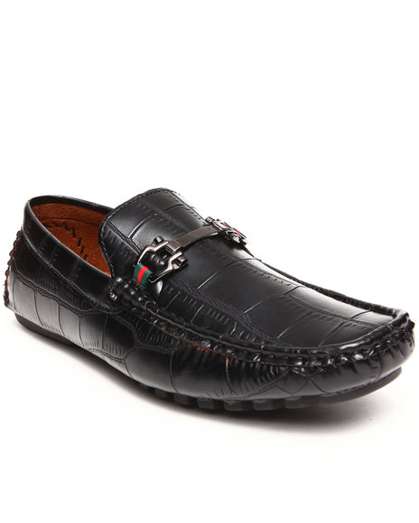 Buyers Picks - Men Black Faux Croc Leather Buckle Loafer