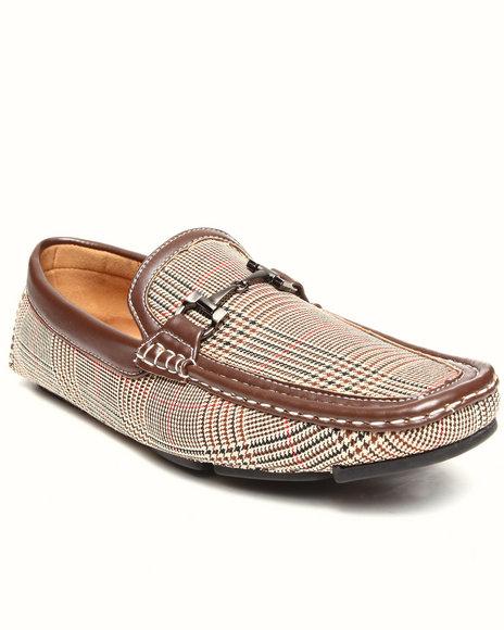 Buyers Picks - Men Tan Checkerd Pattern Buckle Driving Loafer