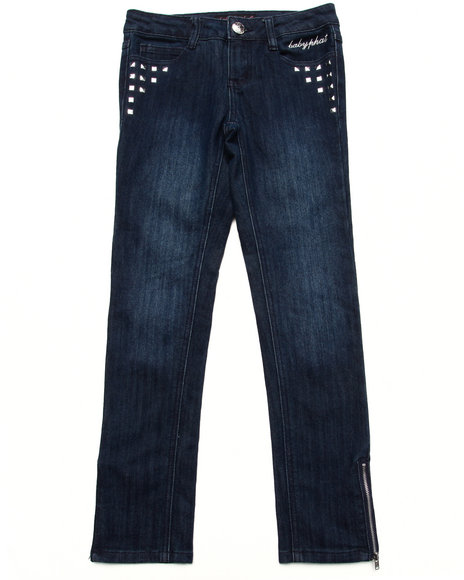 Baby Phat - Girls Dark Wash Studded Denim Pant (7-16)