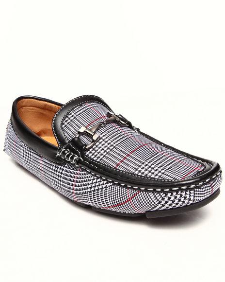 Buyers Picks - Men Black Checkerd Pattern Buckle Driving Loafer