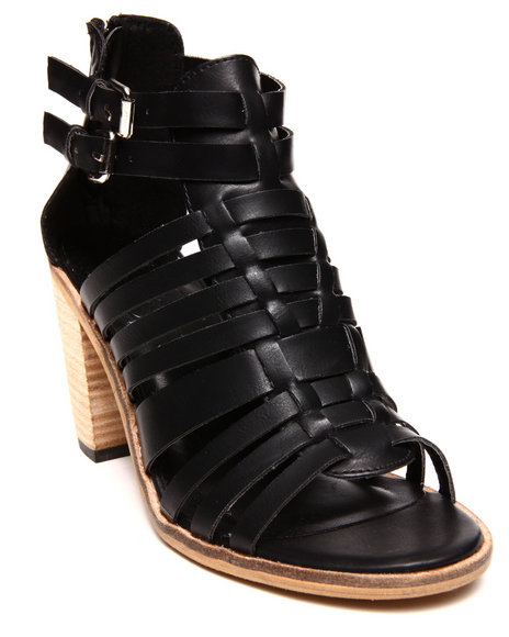 Modern Rebel - Women Black Vegan Leather Block Heel Gladiator Shoe