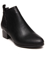 Boots - Vegan Leather Metal Cut Out Heel Bootie