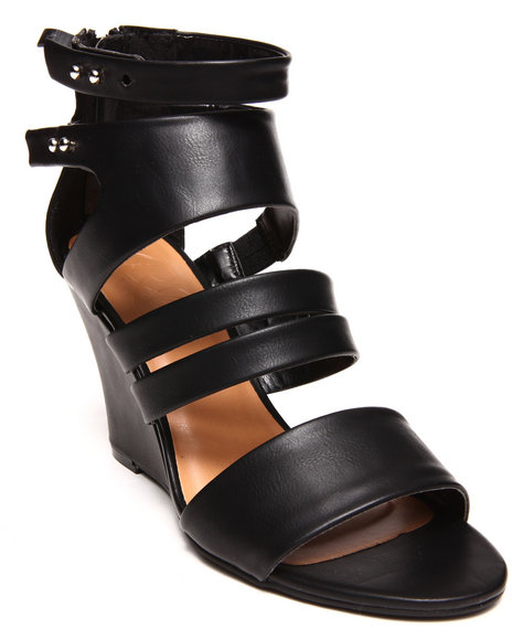 Modern Rebel - Women Black Vegan Leather Banded Straps Wedge Shoe