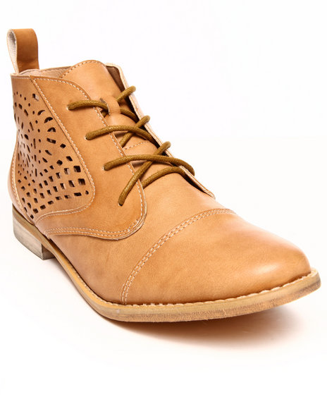 Modern Rebel - Women Tan Vegan Leather Cutout Designs Oxford Bootie