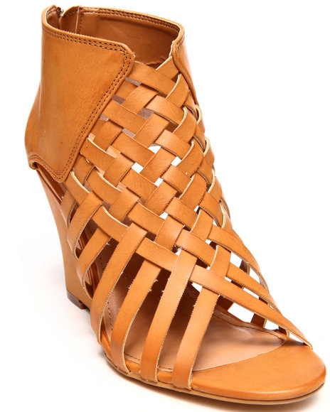 Modern Rebel - Women Tan Vegan Leather Caged Wedge Shoe